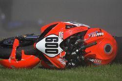 La moto de James Chance après avoir perdu le contrôle lors d'une séance de qualifications au Barber Motorsports Park