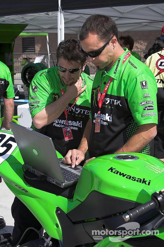 Kawasaki crew members analyze the data at Fontana