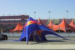 The Red Bull tent is setup for another big weekend at the California Speedway.