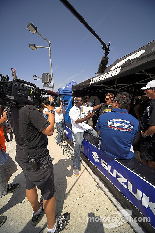 Michael Jordan and Nicky Hayden taping a segment for SPEED TV's show Superbikes