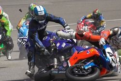 Mike Shreve crashes into Chris Siebenhaar at the start of Sunday's Supersport Rcae at California Speedway