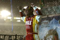 Victory lane: race winner Clint Bowyer celebrates