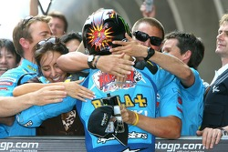 John Hopkins celebrates podium finish