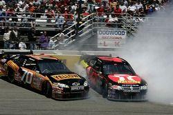 Johnny Sauter and Juan Pablo Montoya crash