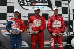 Podium: race winner Raphael Matos with Carl Skerlong and James Hinchcliffe