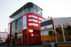 yeni Ferrari motorhome which is now 3 stories high which towers over one, Renault motorhomes