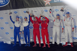 GT2 podium: class winners Mika Salo and Jaime Melo, second place Johannes van Overbeek and Jorg Berg