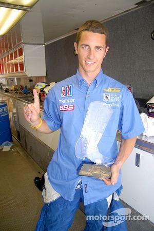 Winner Dane Cameron earned the weekend's first crystal boot trophy
