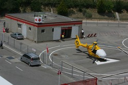 Medical centre and helicopter