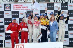 Class winners podium: P2 and overall winners Romain Dumas and Timo Bernhard, P1 winners Rinaldo Cape