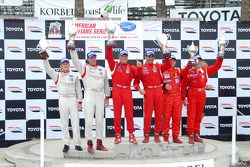GT2 podium: class winners Mika Salo and Jaime Melo, second place Patrick Long and Darren Law, third