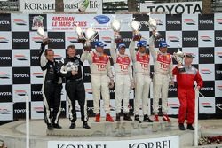 P1 podium: class winners Rinaldo Capello and Allan McNish, second place Emanuele Pirro and Marco Werner, third place Clint Field and Jon Field