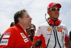 Michael Schumacher, Scuderia Ferrari, Advisor, on the grid with Jean Todt, Scuderia Ferrari, Ferrari