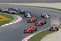 Start: Felipe Massa, Scuderia Ferrari, F2007, Fernando Alonso, McLaren Mercedes, MP4-22, Lewis Hamil