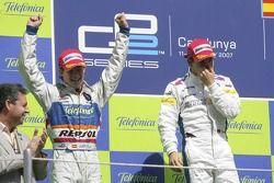 Timo Glock celebrates victory with Javier Villa