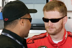 Dale Earnhardt Jr. speaks with Max Siegel, president of global operations for Dale Earnhardt Inc.