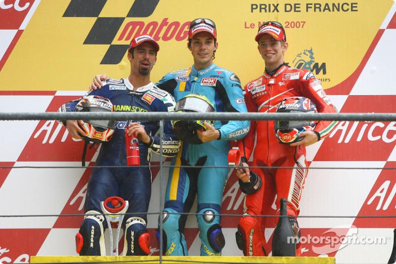 2007: 1. Chris Vermeulen, 2. Marco Melandri, 3. Casey Stoner