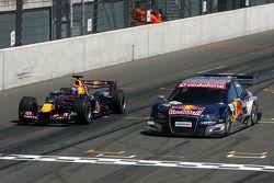 Démo avec Michael Ammermuller, Red Bull Racing et Mattias Ekström, Audi Sport Team Abt Sportsline, Audi A4 DTM