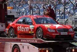 La voiture endommagée d'Alexandros Margaritis, Persson Motorsport AMG Mercedes, AMG Mercedes C-Klass