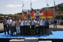 Podium: rally winners Marcus Gronholm and Timo Rautianen celebrate with the BP Ford team
