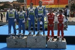 Podium: rally winners Marcus Gronholm and Timo Rautianen, second place Mikko Hirvonen and Jarmo Leht