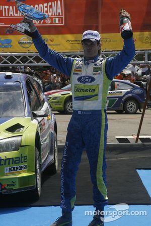 Rally winner Marcus Gronholm celebrates