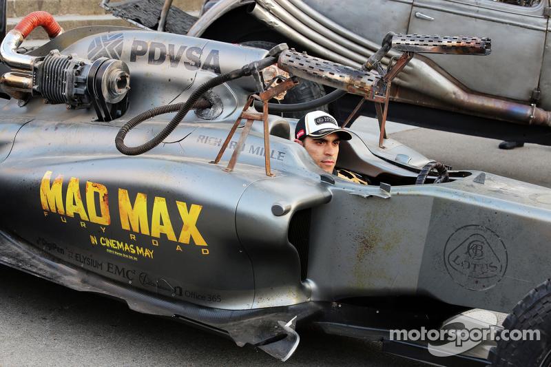 Pastor Maldonado, Lotus F1 Team promoting the film Mad Max: Fury Road