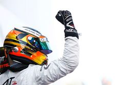 Stoffel Vandoorne, ART Grand Prix celebrates his win on the podium