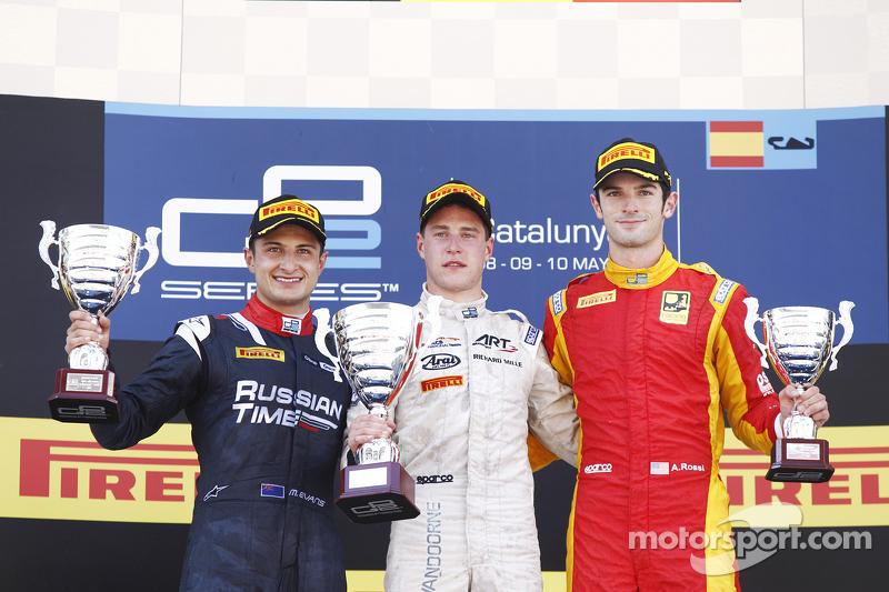 Stoffel Vandoorne, ART Grand Prix; Mitch Evans, RUSSIAN TIME, und Alexander Rossi, Racing Engineerin