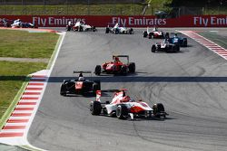 Esteban Ocon, ART Grand Prix leads Luca Ghiotto, Trident & Emil Bernstorff, Arden International at t