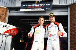Polesitters Robin Frijns en Laurens Vanthoor, Belgian Audi Club Team WRT, vieren feest