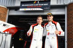 Les polemen Robin Frijns et Laurens Vanthoor, Belgian Audi Club Team WRT fêtent leur pole