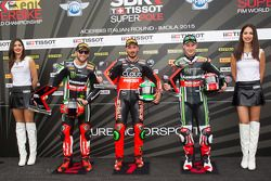 Second place Tom Sykes, Kawasaki, Polesitter Davide Giugliano, Ducati Team, and third placed Jonathan Rea, Kawasaki