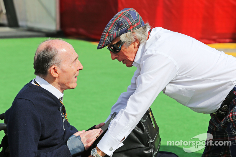 Sir Frank Williams, dueño del equipo Williams y Sir Jackie Stewart
