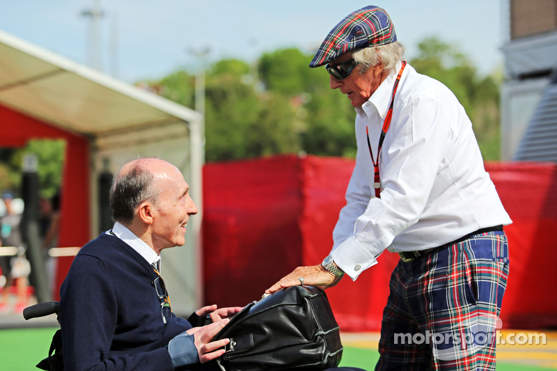 Sir Frank Williams, Williams-Besitzer, und Sir Jackie Stewart