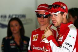 Sebastian Vettel, Ferrari con Kimi Raikkonen, Ferrari en el desfile de pilotos