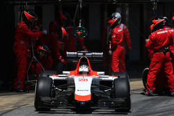 Will Stevens, Manor F1 Team, tijdens pitstop