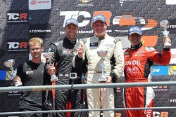 1st position Michel Nykjaer, SEAT Leon, Target Competition, 2nd position Kevin Gleason, Honda Civic TCR, West Coast Racing and 3rd position Jordi Gene, SEAT Leon, Craft Bamboo Racing LUKOIL