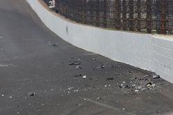 Debris after Josef Newgarden's crash