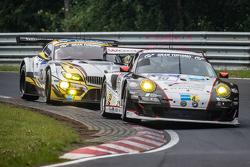 #10 Team Manthey Porsche 911 GT3 RSR: Georg Weiss, Oliver Kainz, Jochen Krumbach, Richard Lietz y #2