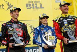Segment one winner Greg Biffle, Roush Fenway Racing Ford, fan vote winner Danica Patrick, Stewart-Ha