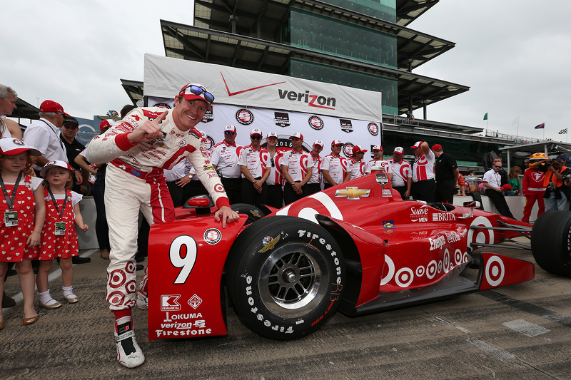 Scott Dixon, Chip Ganassi Racing, Chevrolet, feiert die Pole-Position