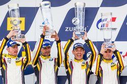 Podium: second place #25 Marc VDS Racing BMW Z4 GT3: Maxime Martin, Lucas Luhr, Markus Palttala, Ric
