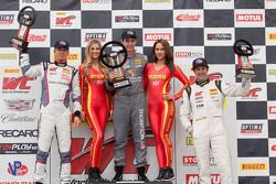 GT Cup podium: race winner Colin Thompson, second place Sloan Urry, third place Lorenzo Trefethen