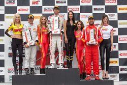 GTA podium: winner Bryan Heitkotter, second place Frankie Montecalvo, third place Henrique Cisneros