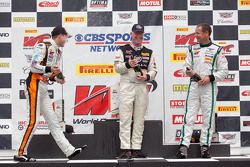 GT podium: winner Johnny O'Connell, second place Kevin Estre, third place Butch Leitzinger