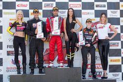 TCA podium: race winner Felipe Merjech, second place Patrick Seguin, third place Emilee Tominovich
