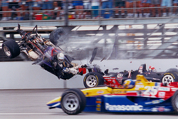 Stan Fox suffers a huge crash with Eddie Cheever
