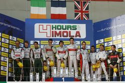 Podium: race winners Tristan Gommendy, Pierre Thiriet, Ludovic Badey, second place Mark Patterson, N