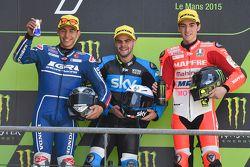 Podium : le deuxième, Enea Bastianini, Gresini Moto3, le vainqueur, Romano Fenati, Sky Racing Team VR46, le troisième, Francesco Bagnaia, Mapfre Mahindra Team